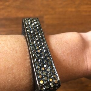 Gunmetal bangle bracelet with Swarovski crystals